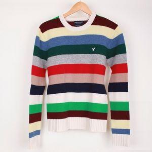 American Eagle Multi Color Striped Wool Sweater